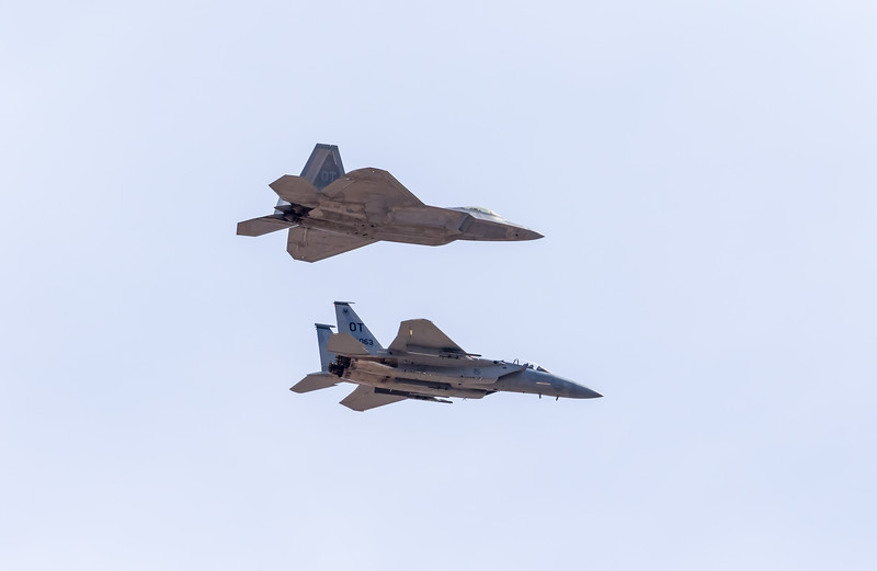 -(Aircraft) Lockheed Martin F-22A Raptor & McDonnell Douglas F-15D Eagle<br /> -(Nation & Service) United States Air Force<br /> -(Squadron) 422nd Test and Evaluation Squadron<br /> -(Home Base) Nellis Air Force Base, Nevada