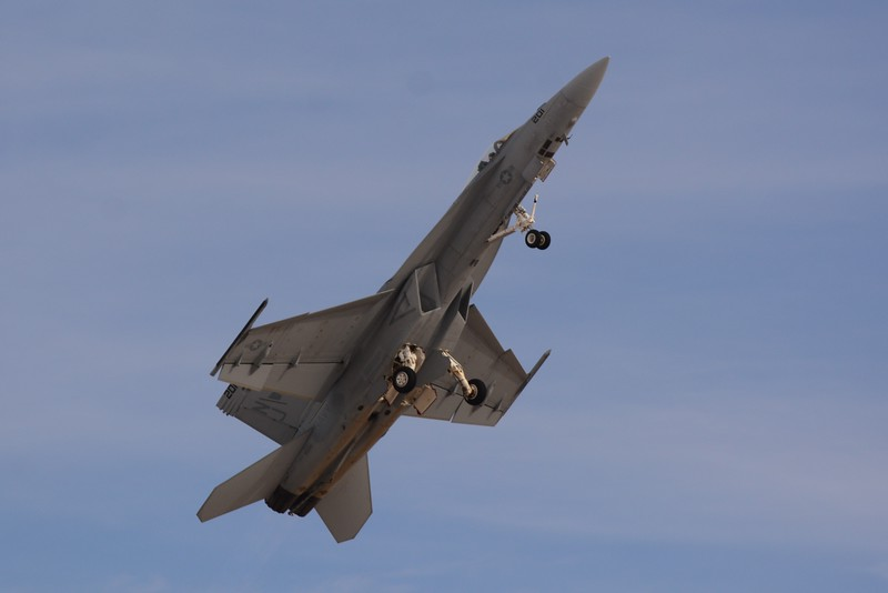 This is the F-18 Super Hornet. A very mean and noisy aircraft. This is the Navy's primary fighter aircraft. It's also flown by their Blue Angels team.
