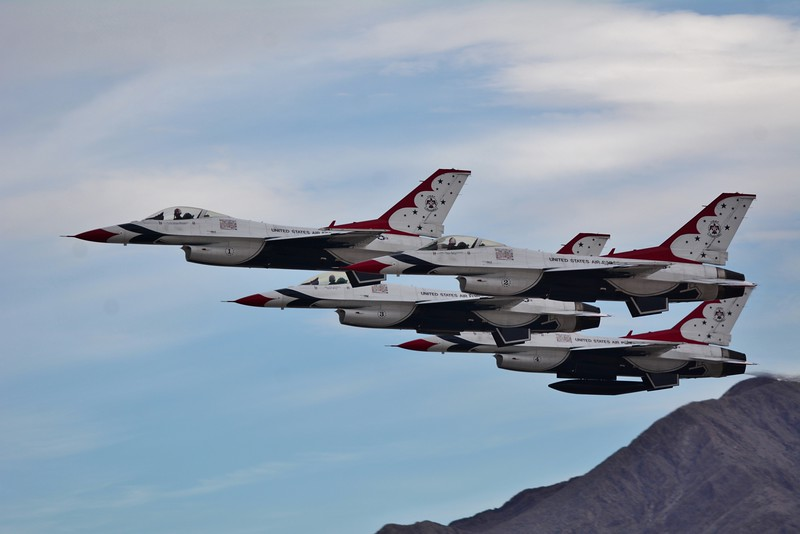 Last but not least - I present to you the United States Air Force Thunderbirds!!! Again that mountain really made for a beautiful as you'll see!