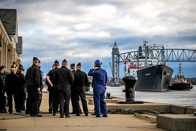 Cadets observing the Kennedy returning.
