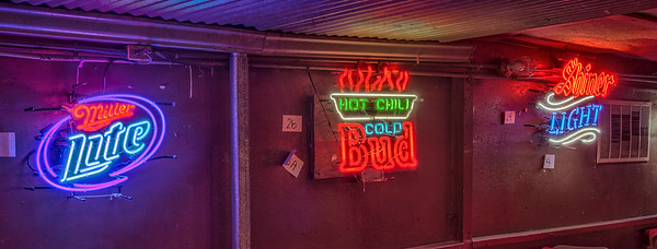 Interior neon beer signs.