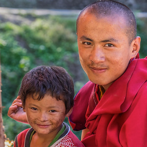 Monk and Child. Bhutan--October 2014--The People, Places, Culture