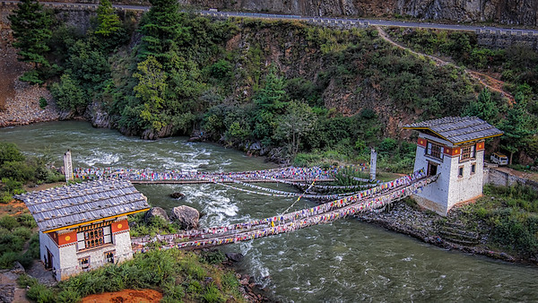 600 year old bridge near Paro in active use today