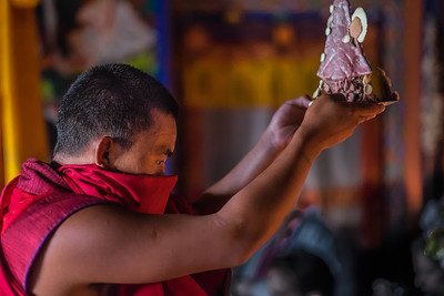 Monk in Buddhist ceremony. Bhutan--October 2014--The People, Places, Culture
