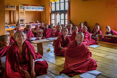 Young Monks in English Class in the Monastery. Bhutan--October 2014--The People, Places, Culture