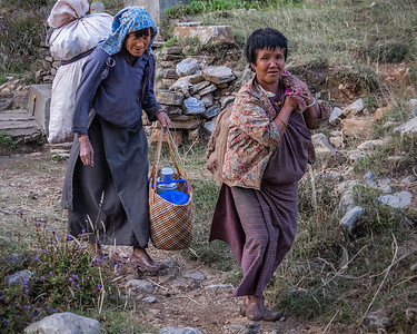Ladies Carrying Chile Peppers. Bhutan--October 2014--The People, Places, Culture