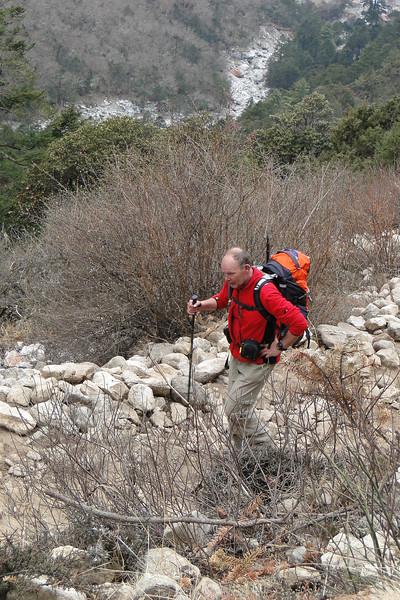 Rogier in de klim naar Tengboche