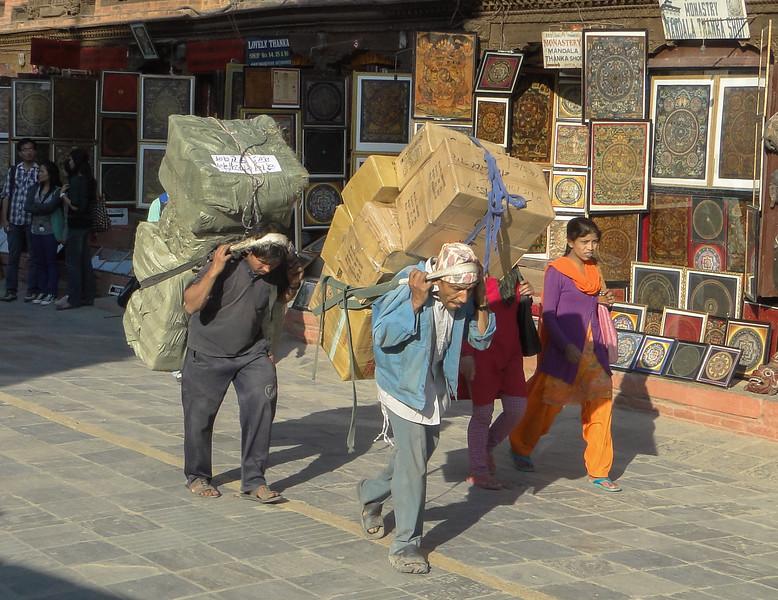 Kathmandu, bij de Boudhanath stupa