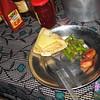 Chapati, kaas, spercieboontjes, vlees