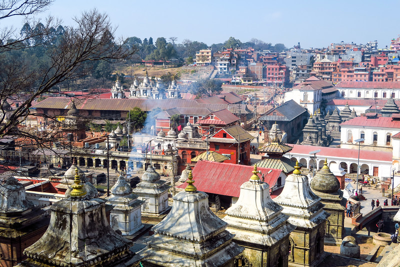 Cremations taking place at Pashupatinath Temple