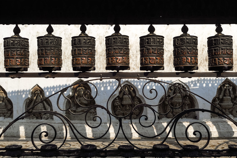 Spinning prayer wheels in Kathmandu