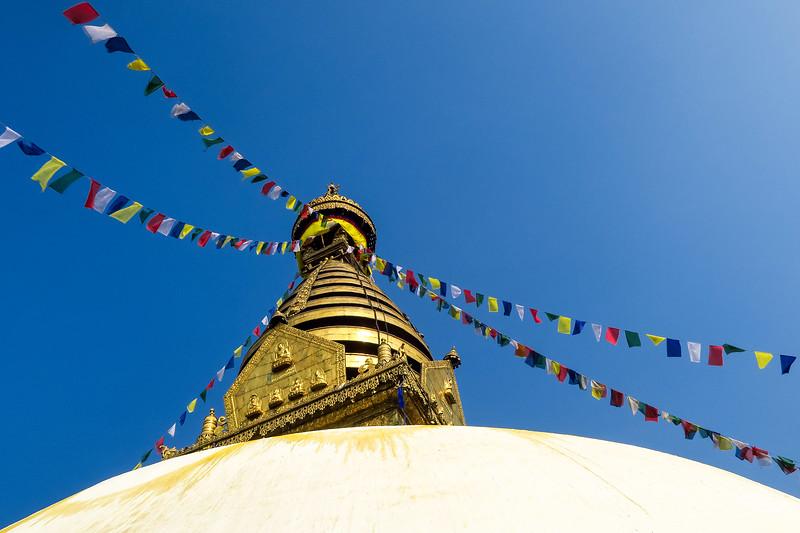 Stupas and prayer flags in Kathmandu