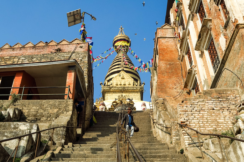 Climbing the steps to the Monkey Temple in Kathmandu