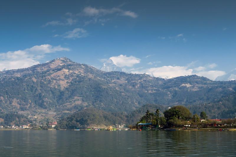 Beautiful views by the lake in Pokhara, Nepal