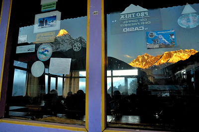 Reflections in a lodge window - Pangboche.