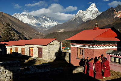 Brilliant autumn afternoon at Tengboche monastery - the Nuptse-Lhotse wall and Ama Dablam in the background