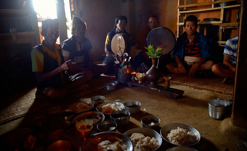 Village leader Santaman Tamang lost his father in the great earthquake. Now one month later, priests of the Bon religion perform the funeral rituals in his home ...