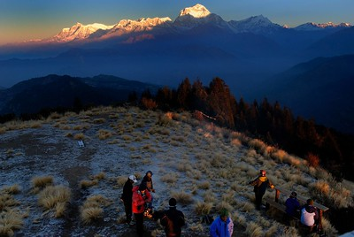 The Dhaulagiri range with Tukuche in shadow at dawn from Poon Hill