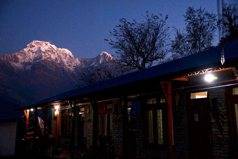 Annapurna South and Huinchuli before dawn from Tolka