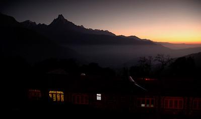 Machhapuchare before sunrise from the lodges of Tadapani