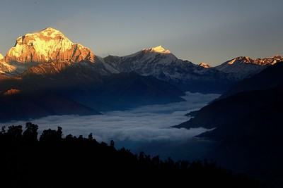 Dhaulagiri and Tukuche winter  sunrise from Ghorepani with the Kali Gandaki valley in the clouds below