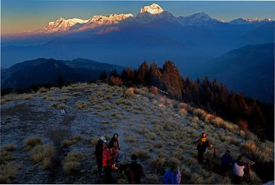 Dhaulagiri, Tukuche and Nilgiri from Poon Hill - winter dawn