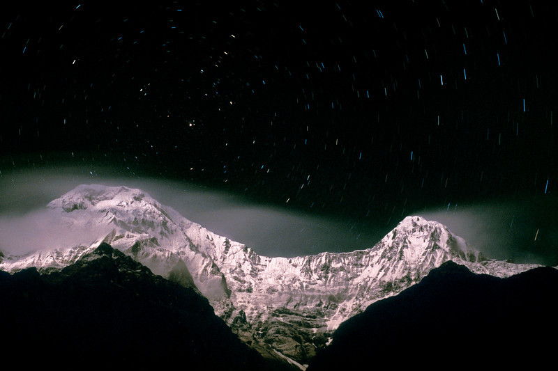 Annapurna South and Hiunchuli from Landrung on a winter night