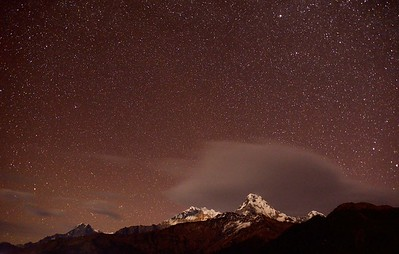 Night sky Ghorepani - Annapurna 1, Annapurna South and Huinchuli