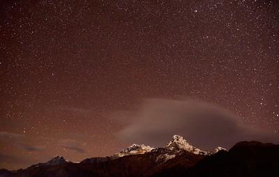 Night sky Ghorepani - Annapurna 1, Annapurna South and Huinchuli