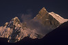 Machapuchare as seen from Annapurna Base Camp at sunset