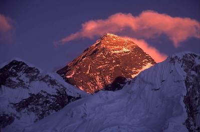 Everest at sunset from below Kala Pattar