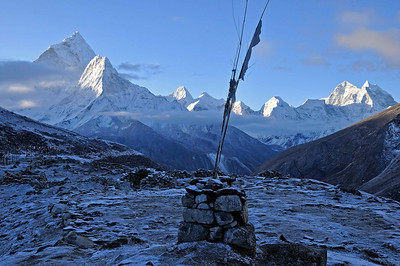Ama Dablam and Thamserku from the ridge above Dugla at dawn