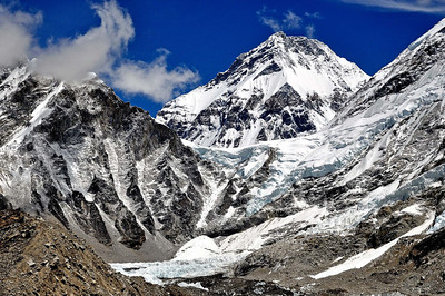The peak of Changtse in Tibet with the  pass of Lho La in front and the Everest icefall. Mallory and Bullock had climbed Lho La in 1921 from the Tibet side.