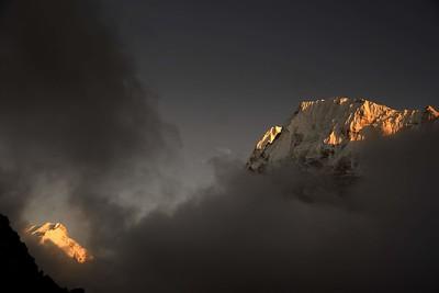 Sunset from above Lhonak - Nepal peak  on the left and Wedge Peak