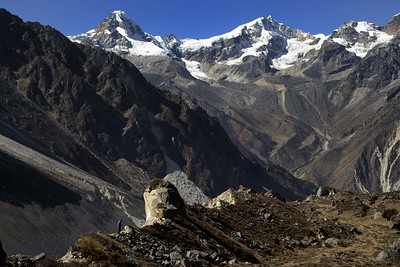 The trail to Jannu base camp with the Sharpu peaks in the background