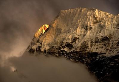 Sunset on Wedge Peak from Lhonak