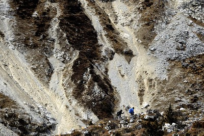 Walking up to Kangbachen below a landslide zone caused by the Nepal earthquake of 2015