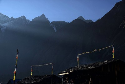 The roofs of the lodges of Ghunsa early morning light