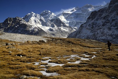 Taple Shikhar, the Twins on the left and the north west face of Kangchenjunga from the Pangpema base camp