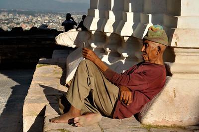 Resting at Swayambhunath- Kathmandu valley beyond