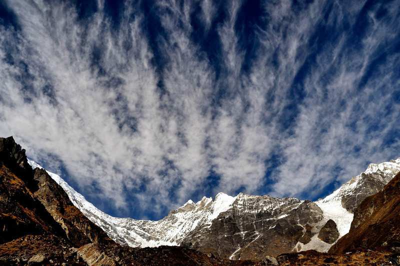 Langtang Lirung (7227m), main peak hidden,  on the left and Changbu (6250m) on the right. Extreme right is the Yubra HImal group  with the prominent icefall.