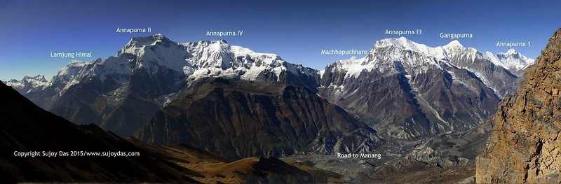 Panorama from the Kangla pass 5320 metres before descending into the Marsyandi valley