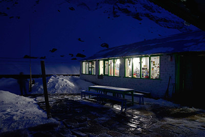 The snow bound Paradise Garden lodge at Annapurna Base Camp (ABC)
