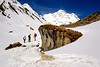The trail between Machapuchare Base Camp and Annapurna Base Camp with Annapurna South behind