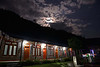 Moonrise over the Namaste Lodge at Tolka on the first evening