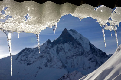 Macchapuchare as seen from the lodges of Annapurna Base Camp