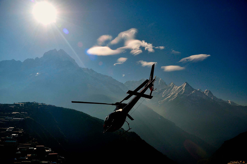 A helicopter rescue at Namche Bazar