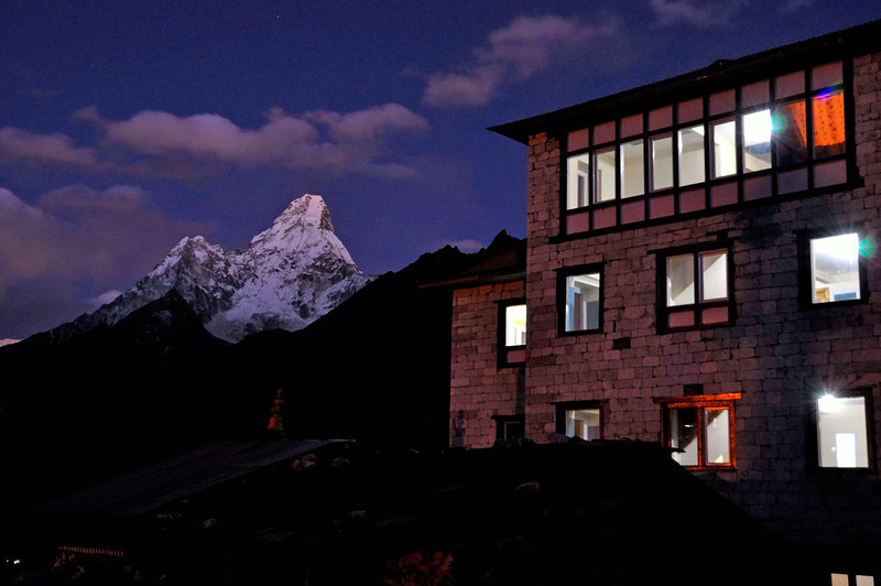 Ama Dablam and the new Himalayan Lodge, Thyanboche