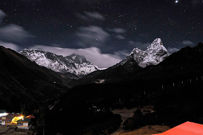 The Lhotse wall, Everest and Ama Dablam from Thyanboche