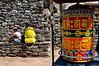 Resting near the large prayer wheel at Benkar